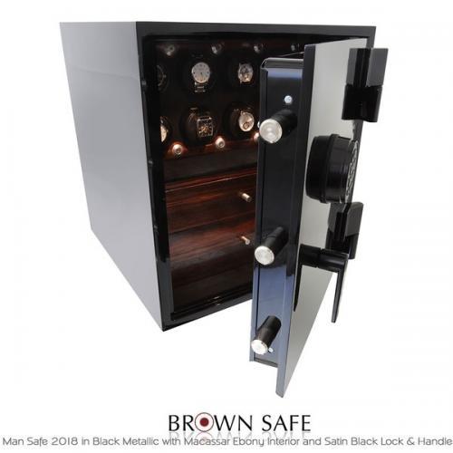 Brown Safe Luxusní trezor Man Safe 2018 Black/Macassar Ebony Trim - Brown Safe Luxusní trezor Man Safe 2018 Black/Macassar Ebony Trim, 4Watchwinders