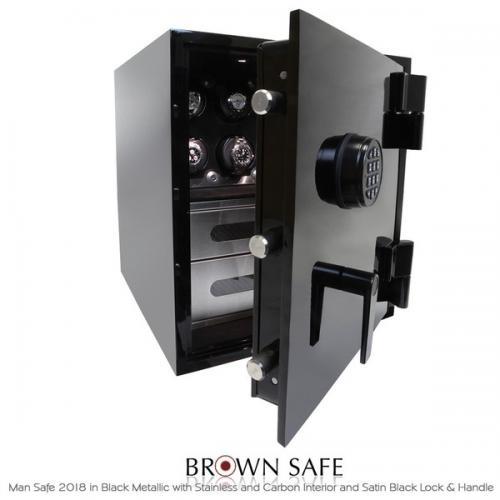 Brown Safe Luxusní trezor Man Safe 2018 Brushed Stainless/Black Anodized - Brown Safe Luxusní trezor Man Safe 2018 Brushed Stainless/Black Anodized, 4Watchwinders
