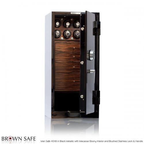 Brown Safe Luxusní trezor Man Safe 4018 Black/Macassar Ebony Trim - Brown Safe Luxusní trezor Man Safe 4018 Black/Macassar Ebony Trim, 12Watchwinders