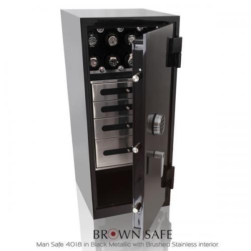 Brown Safe Luxusní trezor Man Safe 4018 Brushed Stainless/Black Anodized - Brown Safe Luxusní trezor Man Safe 4018 Brushed Stainless/Black Anodized, 12Watchwinders