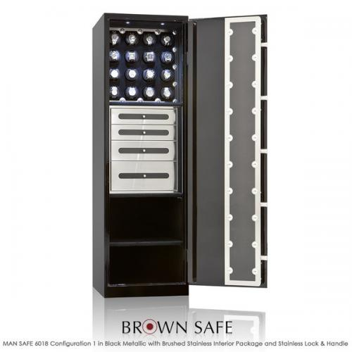 Brown Safe Luxusní trezor Man Safe 6018 Black/Macassar Ebony Trim - Brown Safe Luxusní trezor Man Safe 6018 Black/Macassar Ebony Trim, 16Watchwinders