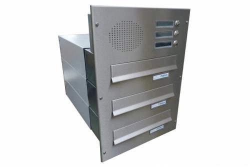 DOLS 3x poštovní schránka B-042 do sloupku s el. + čelní deska se 3x zvonkem a HM URMET - NEREZ - DOLS 3x poštovní schránka B-042 do sloupku s el. + čelní deska se 3x zvonkem a HM URMET NEREZ