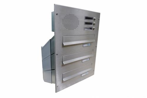 DOLS 3x poštovní schránka D-041 do sloupku s el. + čelní deska s 3x zvonkem a HM URMET - NEREZ - DOLS 3x poštovní schránka D-041 do sloupku s el. + čelní deska s 3x zvonkem a HM URMET NEREZ