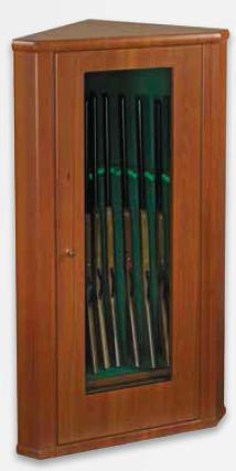 Metalk Luxusní prosklená rohová skříň na osm zbraní Principe - Metalk Luxusní prosklená rohová skříň na osm zbraní Principe, wood line